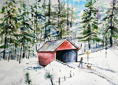 New England Snow Scene Painting - The Long Way Home by Brian Degnon
