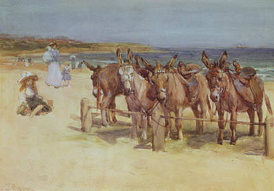 Donkey Watercolor Painting - The Longsands, Tynemouth, Northumberland by John Atkinson