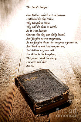 Christian Sacred Photograph - The Lord's Prayer And Bible by Olivier Le Queinec