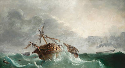 Inclement Painting - The Loss Of The French Droits De Lhomme by Tudgay Family