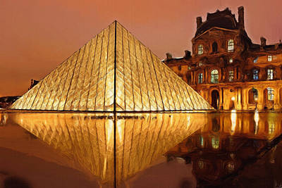 The Louvre By Night Print by Ayse Deniz