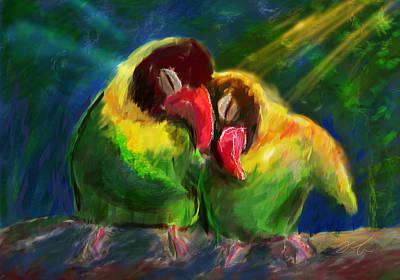 Lovebird Digital Art - The Lovebirds by Ori Bengal