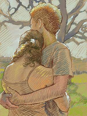 Couple Drawing - The Lovers by Dominique Amendola