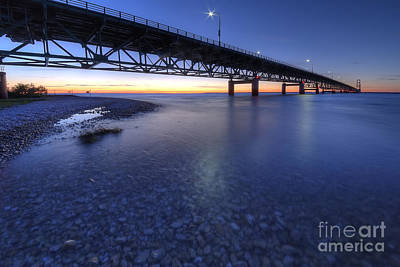 Sunset Photograph - The Mackinac Bridge At Dusk by Twenty Two North Photography