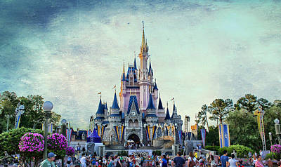 The Magic Kingdom Castle Disney World On A Beautiful Summer Day Textured Sky Print by Thomas Woolworth