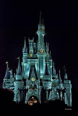 The Magic Kingdom Castle In Teal Walt Disney World Fl Print by Thomas Woolworth