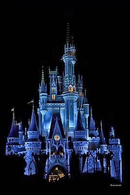The Magic Kingdom Castle In Very Deep Blue Walt Disney World Fl Print by Thomas Woolworth