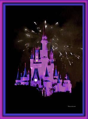 The Magic Kingdom Castle In Violet Walt Disney World Fl Print by Thomas Woolworth