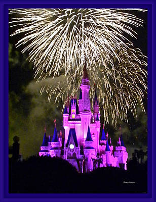 The Magic Kingdom Castle In Violet With Fireworks Walt Disney World Fl Print by Thomas Woolworth