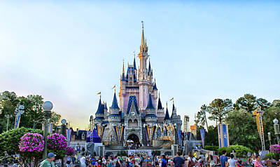 The Magic Kingdom Castle On A Beautiful Summer Day Horizontal Print by Thomas Woolworth