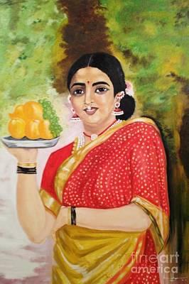 Raja Painting - The Maharashtrian Lady by Brindha Naveen