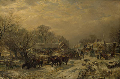 Duck Painting - The Mail Coach, 1855 by Samuel Bough