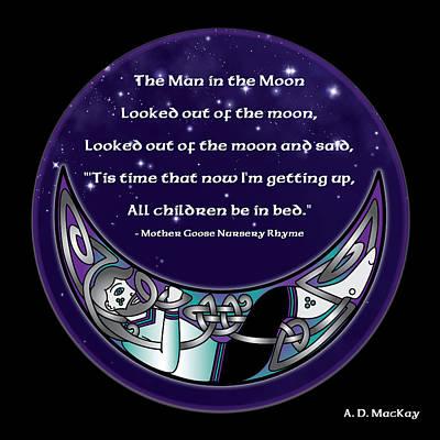 The Man In The Moon Print by Celtic Artist Angela Dawn MacKay