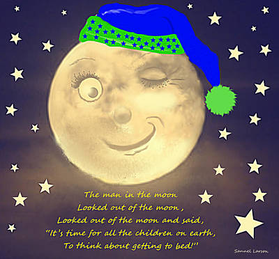 Man In The Moon Digital Art - The Man In The Moon by Sannel Larson