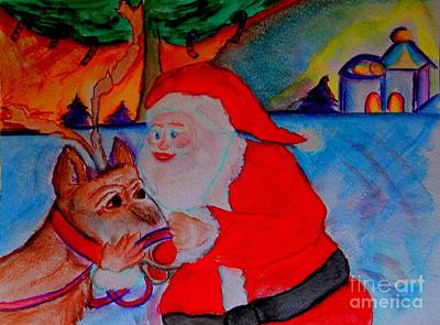 The Man In The Red Suit And A Red Nosed Reindeer Print by Helena Bebirian