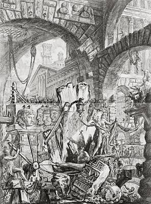 Dungeon Drawing - The Man On The Rack Plate II From Carceri D'invenzione by Giovanni Battista Piranesi
