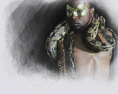 Burmese Python Digital Art - The Man  The Snake by Jeff Burgess