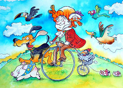 Penny Farthing Photograph - The Man Who Wore His Cat As A Hat Pen & Ink And Wc On Paper by Maylee Christie