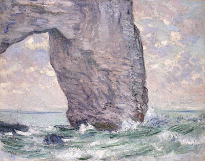 Under The Ocean Painting - The Manneporte Seen From Below by Claude Monet