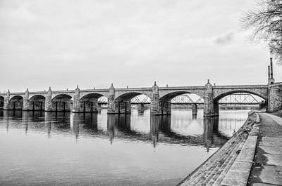 The Market Street Bridge - Harrisburg Pa In Black And White Print by Bill Cannon