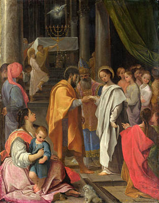 Ludovico Carracci Painting - The Marriage Of The Virgin by Ludovico Carracci