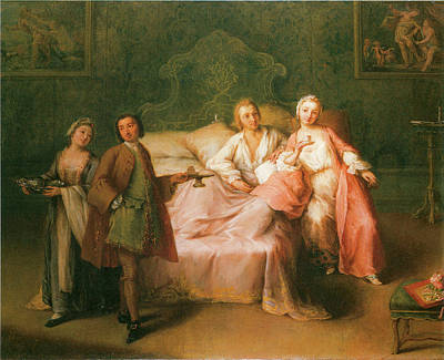 Pietro Longhi Painting - The Married Couple's Breakfast by Pietro Longhi