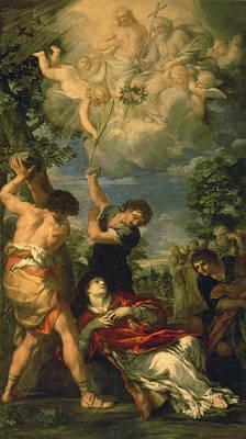 The Martyrdom Of Saint Stephen, 1660 Oil On Canvas Print by Pietro da Cortona