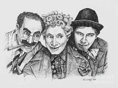 Groucho Marx Drawing - The Marx Brothers by Paul Wolff