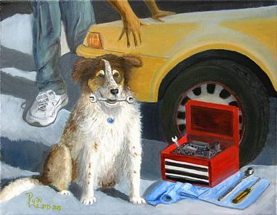 Dog Painting - The Mechanic's Apprentice by Ryan Williams