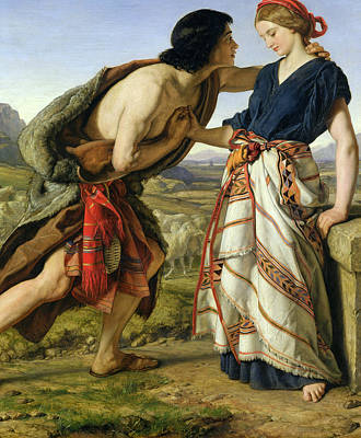 Man And Woman Painting - The Meeting Of Jacob And Rachel by William Dyce