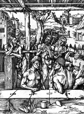 Durer Drawing - The Mens Bath by Albrecht Durer or Duerer
