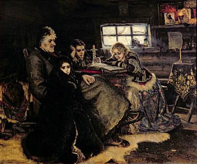 Cabin Interiors Photograph - The Menshikov Family In Beriozovo, 1883 Oil On Canvas by Vasilij Ivanovic Surikov