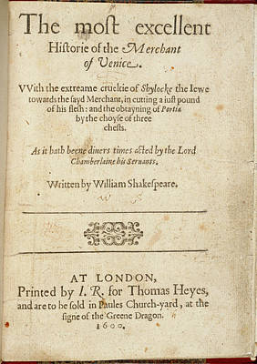 The Merchant Of Venice Print by British Library