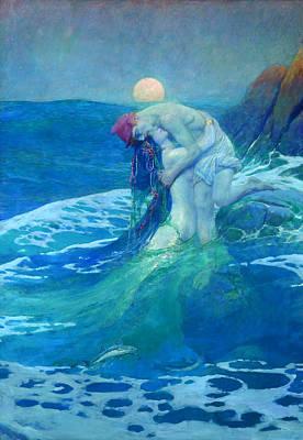 Howard Pyle Painting - The Mermaid by Howard Pyle