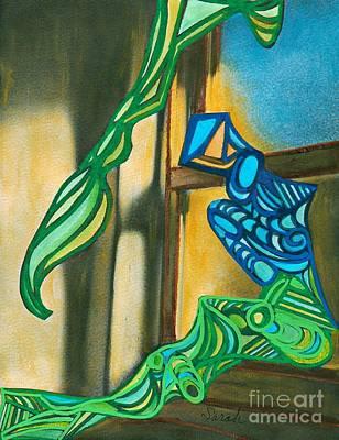 Mermaid Mixed Media - The Mermaid On The Window Sill by Sarah Loft
