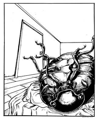 Beetle Drawing - The Metamorphosis by John Ashton Golden