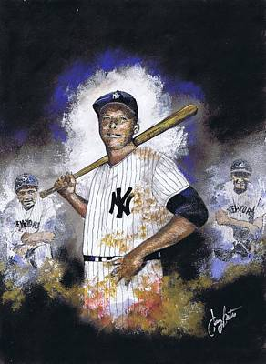 Mickey Mantle Painting - The Mick Babe And Lou by Jerry Bates