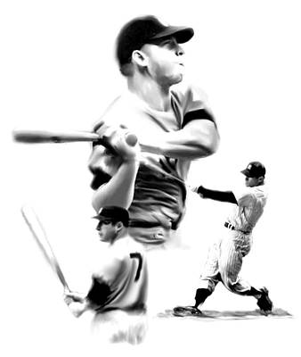 New York Yankees Drawing - The Mick  Mickey Mantle by Iconic Images Art Gallery David Pucciarelli