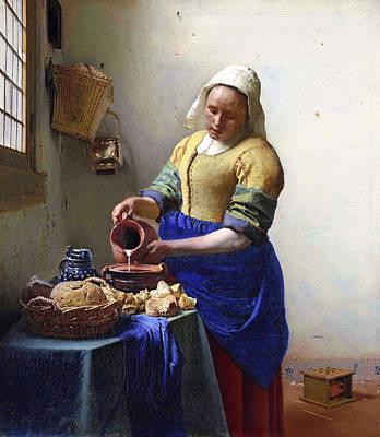 Painting - The Milkmaid Johannes Vermeer by Johannes Vermeer