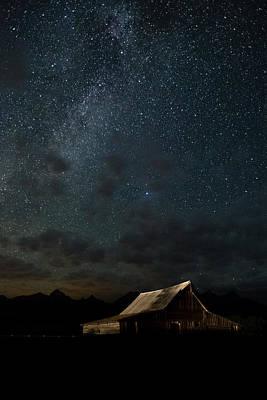 Sun Photograph - The Milky Way On Moulton Barn - Grand Teton National Park by Andres Leon