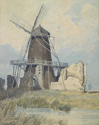 On Paper Painting - The Mill St Benet's Abbey by John Sell Cotman