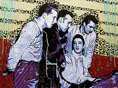Elvis Presley Painting - The Million Dollar Quartet  by Bobby Zeik
