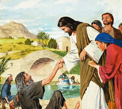 The Miracles Of Jesus  Making The Lame Man Walk Print by Clive Uptton