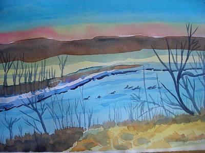 Brake Painting - The Missouri With Ducks by Alana J Hastings