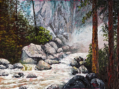 Impressionistic Landscape Painting - The Mist At Bridalveil Falls by Darice Machel McGuire