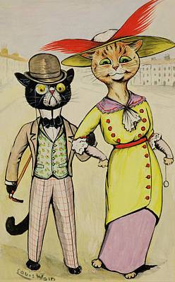 Street Drawing - The Modern Arry And Arriet by Louis Wain