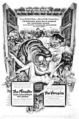 Theater Drawing - The Monster And The Vampire by MMG Archives