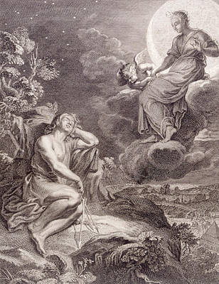 The Moon And Endymion Print by Bernard Picart
