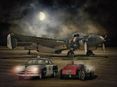 Police Car Digital Art - The Moon Comes Callin' A Ghostly White .... by Rat Rod Studios