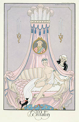 Interior Morning Painting - The Morning by Georges Barbier